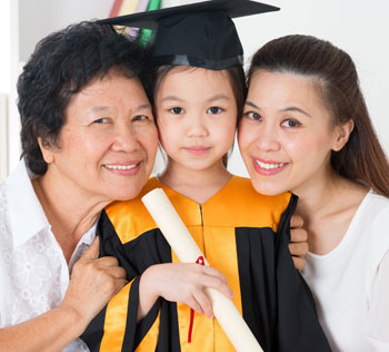 Grandparent and parent and grandchild on kindergarten graduation day