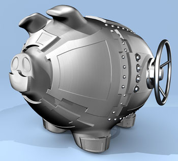 Combination of piggy bank and safe